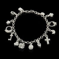 beautiful cross pendant - Fashion Jewelry Sterling Silver Plated Women Star Key Moon Heart Cross Charm Pendant Beautiful Bracelet Bangles