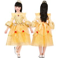bella kids - Prettybaby girls princess party dresses cosplay costume children kids Beauty and the Beast bella luxurious lace tutu dress gift Pt0360 mi