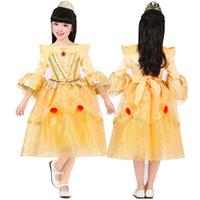 bella princess dress - Prettybaby girls princess party dresses cosplay costume children kids Beauty and the Beast bella luxurious lace tutu dress gift Pt0360 mi