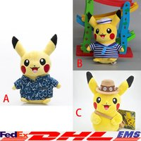 beach videos - 3 Style Cartoon Pikachu Sailor Beach Clothes Adventure Clothing Doll Anime Uniform Soft Plush Kids Baby Toy Gift Doll XL T100