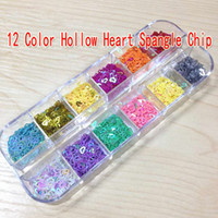 Wholesale 12 Color Nail Art Decoration Glitter Shiny Hollow Heart Spangle Chip With Box Hollow Heart For DTY Nail Art
