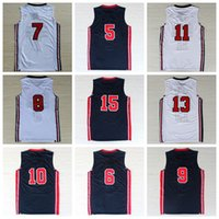 Wholesale 1992 USA Dream Team One Basketball Jerseys Shirt With Player Name Team Logo Maillot de basket Size S XXXL