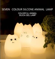 Wholesale New cat Creative seven colour silicone animal light atmosphere induction led color changing small night light
