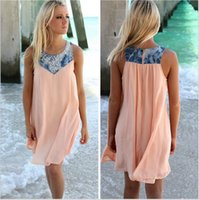 Wholesale Brand new Hot explosion models in Europe and America stitching denim sleeveless dress DFML085 summer dresses for women