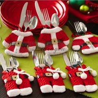Wholesale Kitchen Cutlery Suit Silverware Holders Pockets Knifes Folks Bag Snowman Shaped Christmas Santa Claus Party Decoration Supplies Z483