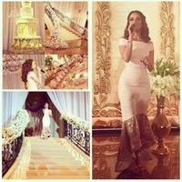 al por mayor high low kleid-Myriam Fares alta Vestidos de baile de encaje Bajos desde el tee Hombro longitud de los vestidos de fiesta de promoción Anschlussball Arabia árabe Kleid