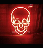 Wholesale Hot neon sign Skull Real Neon Sign for Bar Real Glass Tube Handcraft Store display Custom LOGO Design x14