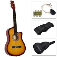 Wholesale New Beginners Acoustic Guitar With Guitar Case Strap Tuner and Pick Yellow
