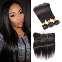al por mayor reina haces de pelo peruano-Queen Hair Products Cabello peruano recto con cierres 7A cabello humano 3 paquetes con 13x4 de encaje frontal cerrado no procesado cabello peruano