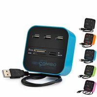 Wholesale 20pieces All In One USB COMBO port usb hub HUB multi USB card reader for SD MMC M2 MS MP Pro Duo Black Blue Wholesales