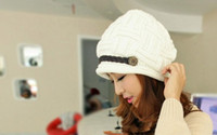 Wholesale Ms han edition manual wool hat in the fall and winter of Belt buttons little plaid knit cap