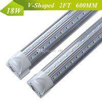 Cheap CREE V-Shaped Integrated T8 LED Tube Light 2FT 18W 96 LEDs SMD2835 LED Fluorescent Lamp AC 85-265V