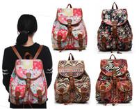 Wholesale 2016 Vintage Bohemian Canvas School Bag Drawstring Backpacks for Girls Teenagers