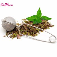 Wholesale Silver Stainless steel Mesh Tea Ball Infuser Filter Squeeze Strainer with Sphere Handle Tea Accessories