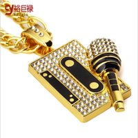asian tapes - cool mic tapes pendant Necklace swag hip hop pendants and necklaces men gold Chain Jewelry fashion music fans gift rap singer