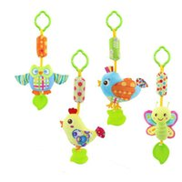 Wholesale 0 Y Silicone With gutta percha Teethers Baby Music Hanging Bell Lovely Hand Bell For Baby Stroller WJ291