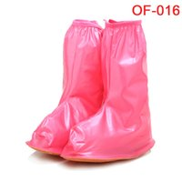 Wholesale 2016 new fashion Reusable rain shoes cover waterproof rainproof boots zipper shoes cover portable in bags blue pink Black White