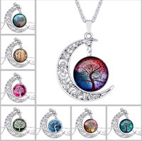 couples sweater - 2016 New Woodwork moon tree of life time Diamond Necklace Pendant Couples sweater chain accessories Silver plated Family style Charm Jewelry