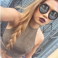 Wholesale 2016 New Summer Style Sexy Lace Up Women Cropped Tanks Tops Vest Camis Cute Sleeveless Suede Bodycon Bandage Crop Tops Camisole
