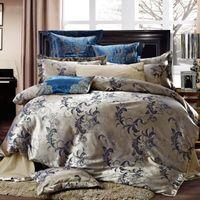 Cheap Luxury jacquard satin cotton silk King Queen Size bedding set 4pcs Duvet Quilt cover bed sheet pillowcase comforters tencel set