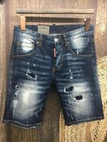beach paintings sale - hot sale Summer men s Slim jeans shorts hole patch jeans locomotive times throwing paint beach pants