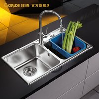 Wholesale stainless steel anti oil controlled drainage of small angle R sink double groove set with stainless Kitchen Sinks