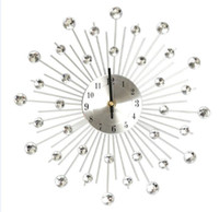 Wholesale Newest High Quality cm Novelty Diamond Crystal Jeweled Beaded Sunburst Wall Clock living room Silver Wire