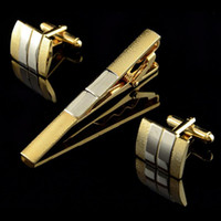 Wholesale Men Metal Necktie Tie Bar Clasp Clip Cufflinks Sets Gold Simple Party Gift C00114 SMAD