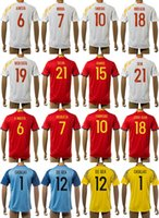 Wholesale 2016 Spain Soccer Jerseys Home Red Away Thailand Maillot de Football Shirts Iniesta Morata Fabregas Ramos Jordi Alba Diego Costa Silva