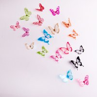adhesive magnets - 18 stereoscopic d butterfly decoration home decorations wall stickers bedroom TV background wall with glue magnet models mixed batch