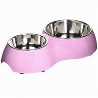 Wholesale High Quality Double Rectangular Pet Bowl Double Diner