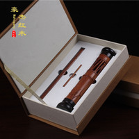 Wholesale African rosewood inlay purple Tan relief three piece gift set bamboo incense incense with high grade mahogany
