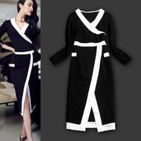 Wholesale Fashion New Korean White Black Front Split Long Sleeves Sexy European and American Fashion Autumn Dress