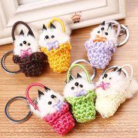 basket ball bag - 2016 New Year Gift Cute Basket Animal Soft Fluffy Genuine Mink hair Pom Pom Key Chain For Car Bag Pendant Ball Keychain