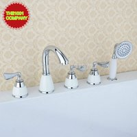 bathtub shower plumbing - Three Handles Curve Spout Bar Faucet Widespread Roman Tub Bathtub Mixer Taps Lavatory Plumbing Fixtures with Shower Arm Ceramic