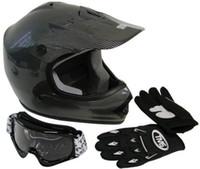 atv helmet combo - Youth Carbon Motocross Dirt Bike Helmet ATV with Goggles Gloves Combo M