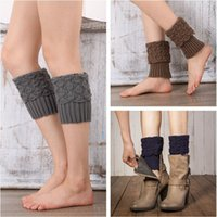 acrylic boots - Women Crochet Boot Cuffs Knitted Leg Warmers Fashion Foot Socks Boots Cover Crochet Boot Cuff Womens Boot Socks Rhombus Plaid Boot Cuff E24