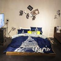 beds la - Bedding set Paris La Tour Eiffel Tower duvet cover cotton bedsheet duvet cover set patrulha pata parure de lit queen size