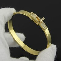Wholesale Full Diamond Cz Stone Rings Rotary Buckle H Bangle Bracelet For Women High Quality Healthy Stainless Steel Rose Gold Luxury Fashion Jewelry