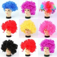 Wholesale Halloween Adult Costumes Cosplay Dress Party Wigs Colorful Afro Clown Fake Hair Child Football Fan Wig Hair Rainbow Red Black Colors