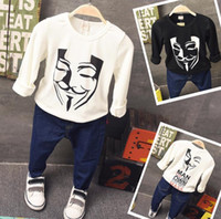 autumn guy - 2016 New Autumn Boys T shirt Kids Guy Fawkes Mask Printed T shirt Long Sleeve Tops Cotton T shirt Children Casual Clothing Black White