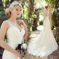 beads turkeys - Vintage Lace Mermaid Sexy Modest Wedding Dresses Plus Size V neck Wedding Dress Turkey Elegant Bridal Bride Wedding Gowns