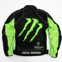 Wholesale The New Green Fit For Kawasaki MONSTER Ghost Breathable Mesh Summer Motorcycle Clothing Racing Suits Men Jacket Protective Gear cool green