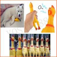 Wholesale Funny gadgets cm High Quality novelty Yellow rubber Dog Toy Fun Novelty Squawking Screaming Shrilling Rubber Chicken for kids