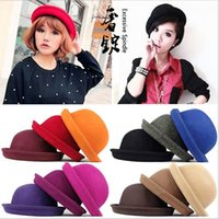 Wholesale 2017 New Fashion Vintage Woman Wool Cloche Hats Cap Winter Elegant Plain Bowler Derby Small Fedoras Hat Ladies hats by alice