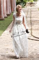 western wear - 3 D florals Wedding Dresses Modest Off The Shoulder Western Style Rustic Court Train Bridal Gown Handmade Romantic Boho Brides Wear