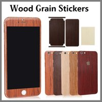 Wholesale Hot Selling Full Body Wood Grain Phone Stickers For iphone S Plus S S Front Back Vintage Wooden Sticker Cases With Retail Package