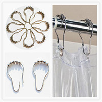 bath shower rods - Roller ball Shower Curtain Rod Hooks Metal Bath Glide Rings cm Silver Color Home Bathroom Accessories