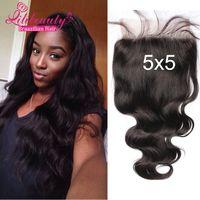 Wholesale Body Wave Closure x5 Lace Closure Brazilian Hair Free Middle Three Part Human Hair Closure Bleached Knots Closure