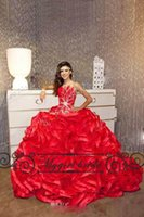 Wholesale Bling Ruffled Red Quinceanera Dresses Ball Gowns Pageant Dresses Sweet Dresses Custom Made Puffy Prom Gowns